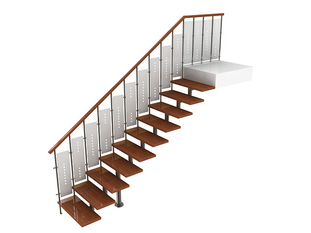 Straight stairs 3d model 3ds max files free download ...