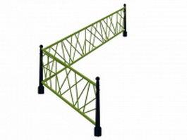 Corner metal railings 3d model preview
