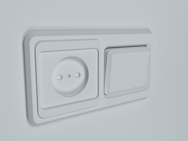 Switch and socket 3d rendering