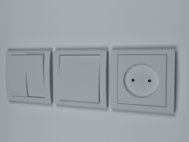 Two light switches and socket 3d rendering