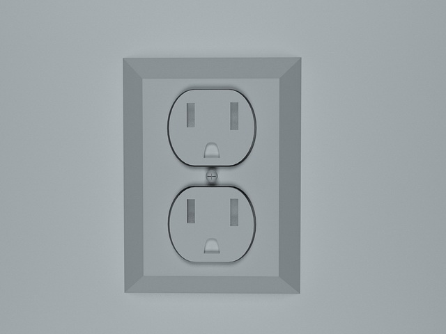 3-pin power socket 3d rendering