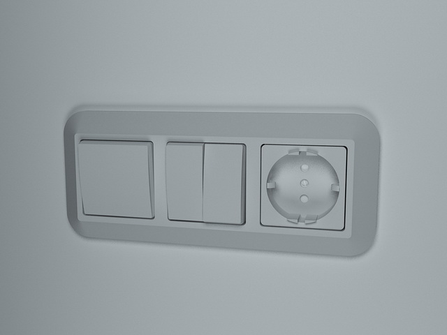Light switch with socket outlet 3d rendering