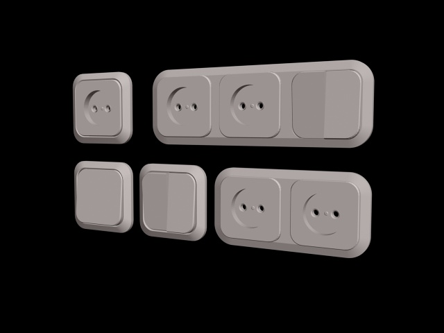 Switch and socket collections 3d rendering