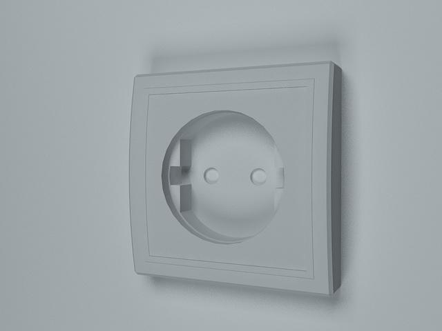 Schuko socket 3d rendering