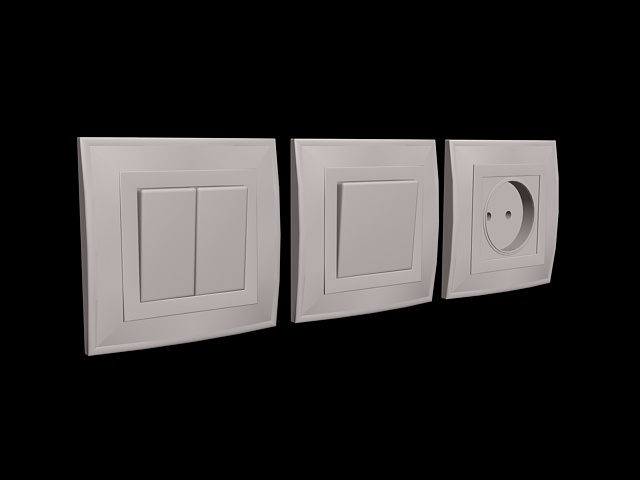 Light switch and outlet 3d rendering