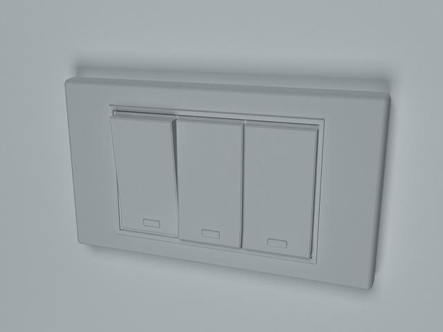 3 way rocker switch 3d rendering