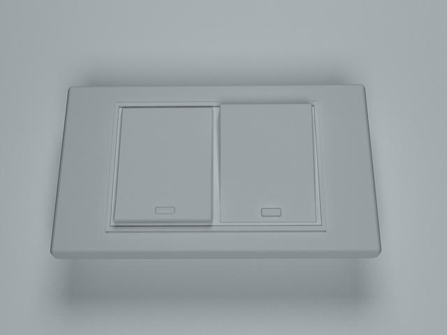 Wall rocker switch 3d rendering