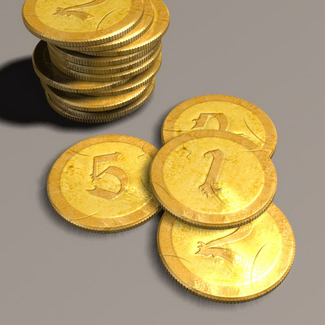 Ancient gold coins 3d rendering