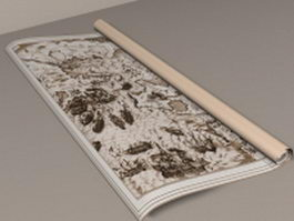 Ancient paper scroll 3d preview