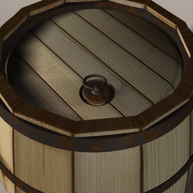 Wood barrel 3d rendering