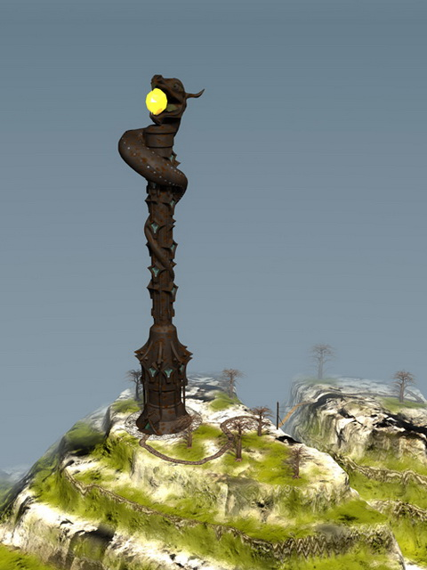 Fantasy snakes tower 3d rendering