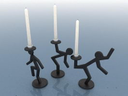 Metal candle holders 3d model preview
