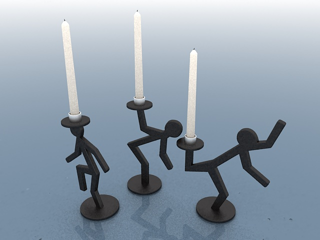 Metal candle holders 3d rendering