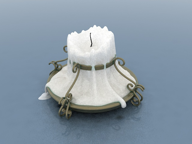 Brass candlestick with candle 3d rendering