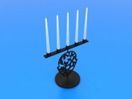 Black candlestick holders 3d preview