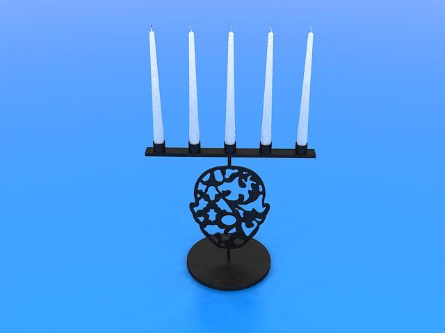 Black candlestick holders 3d rendering