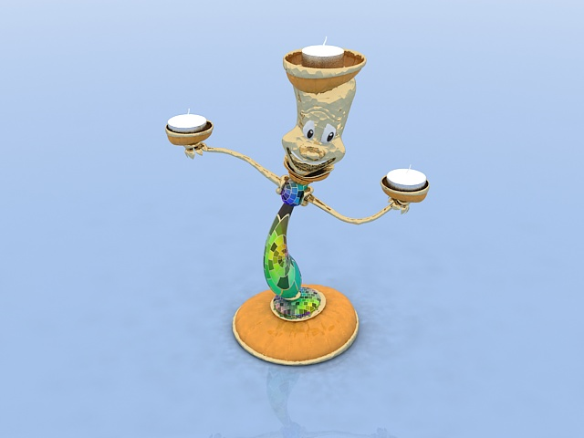 Clown candle holder 3d rendering