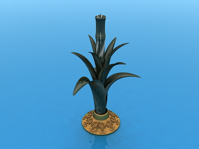 Potted candle holder 3d rendering