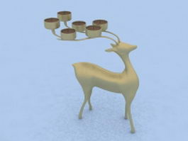 Golden deer candle holder 3d preview