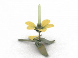 Daisy flower metal candle holder 3d preview