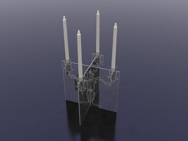 Modern crystal candle holder 3d rendering