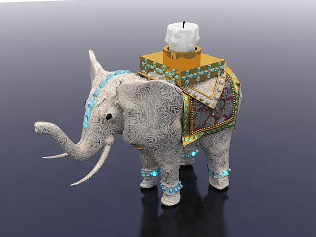Elephant candle holder 3d rendering