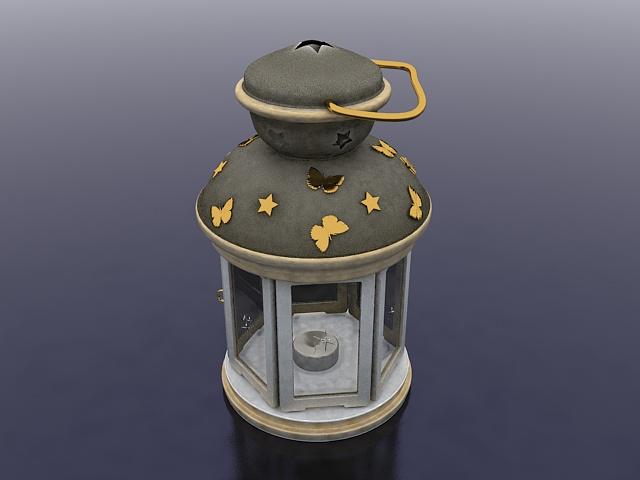 Lantern candle holder 3d rendering