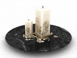 Marble candle tray 3d preview