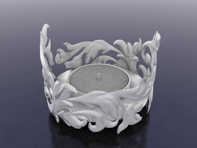 Carved candle holder 3d rendering