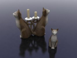 Cat candle holders 3d preview