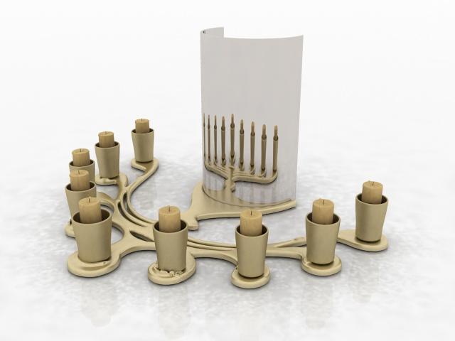 Desktop candle holder decorations 3d rendering