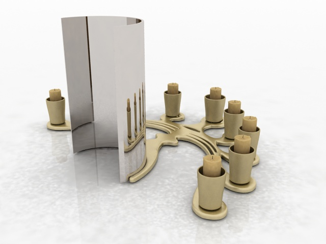 Desktop candle holder decorations 3d rendering