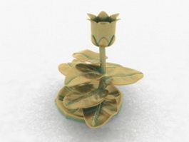 Bronze flower candle holder 3d preview