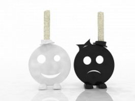 Sad and smile face candle holder 3d preview
