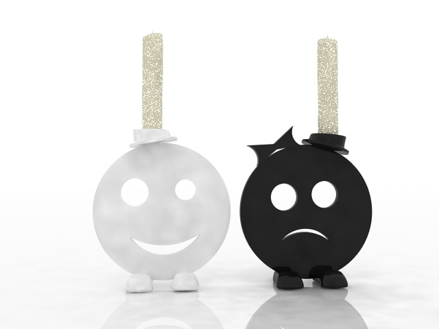 Sad and smile face candle holder 3d rendering