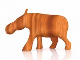 Wood carving hippo 3d preview