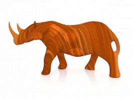Wood carving rhino 3d model preview