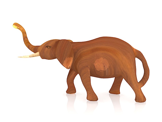 Wood carving elephant 3d rendering