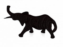 Black wood elephant 3d preview