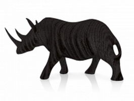Black rhino wood carving 3d preview
