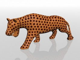 Carved wood leopard 3d preview