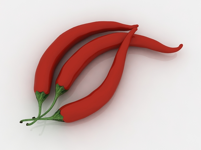 Red chili peppers 3d rendering