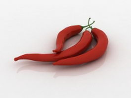 Red chili peppers 3d model preview