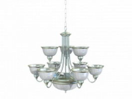 Classic brass glass chandelier 3d model preview