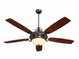 Ceiling fan lighting fixture 3d preview