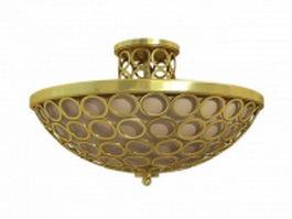 Brass semi flush ceiling lights 3d model preview