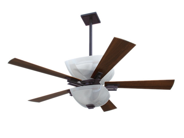 Ceiling fan with lights 3d rendering