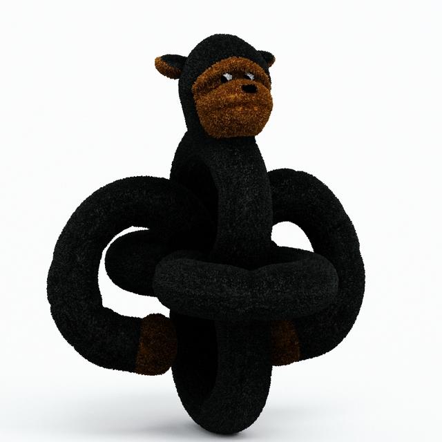 Stuffed monkey toy 3d rendering