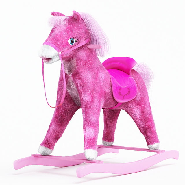 Pink rocking horse 3d preview