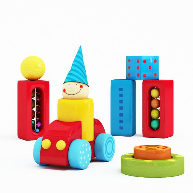 Building blocks toys 3d rendering